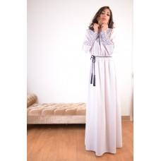 Abaya - White with pattern